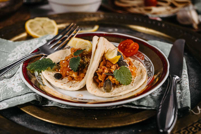 red lentil, tomato seeds'n'veggies spread and flatbread