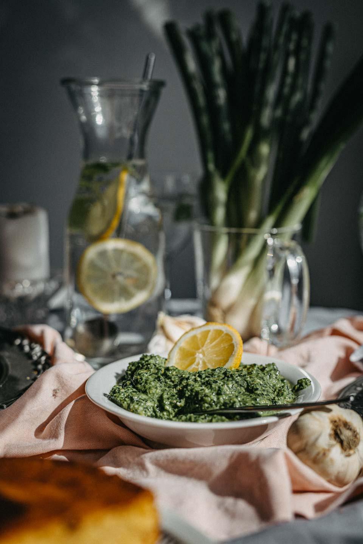 skillet cornbread, green pesto, vegan