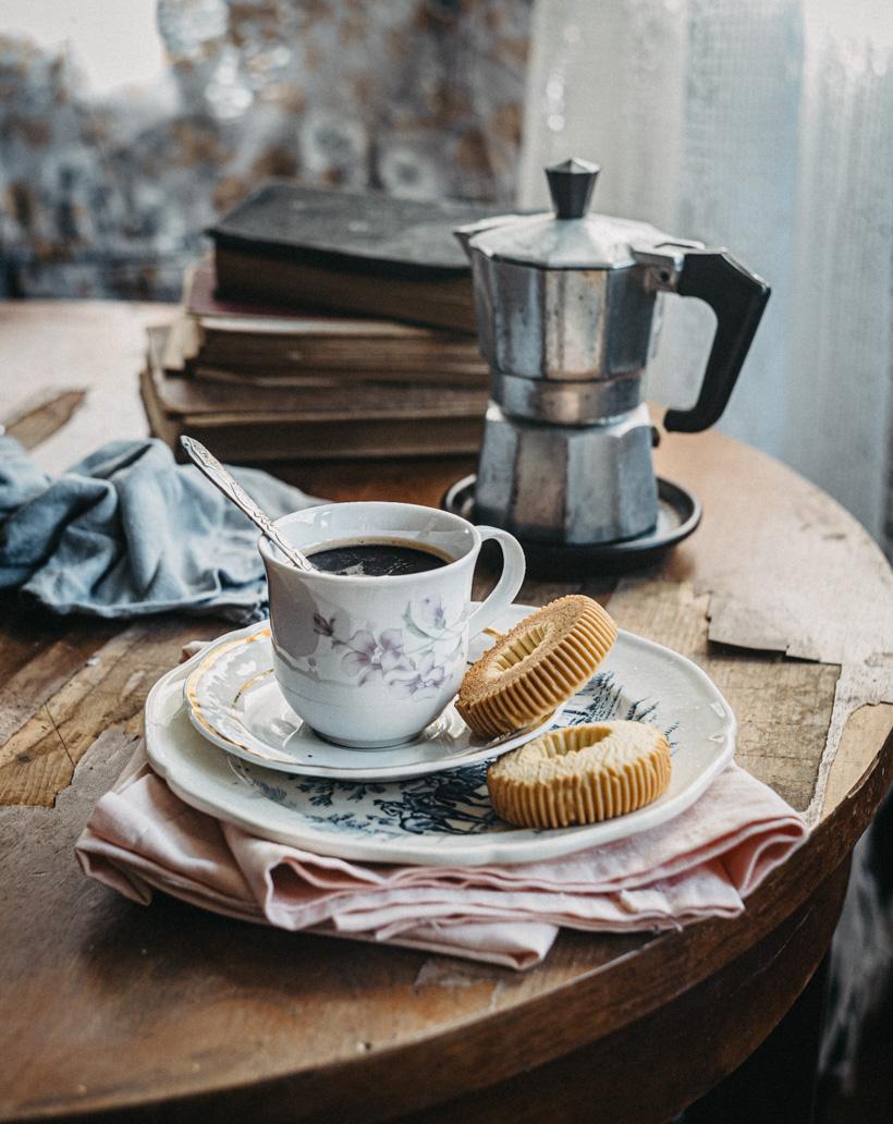 Moka coffee and books
